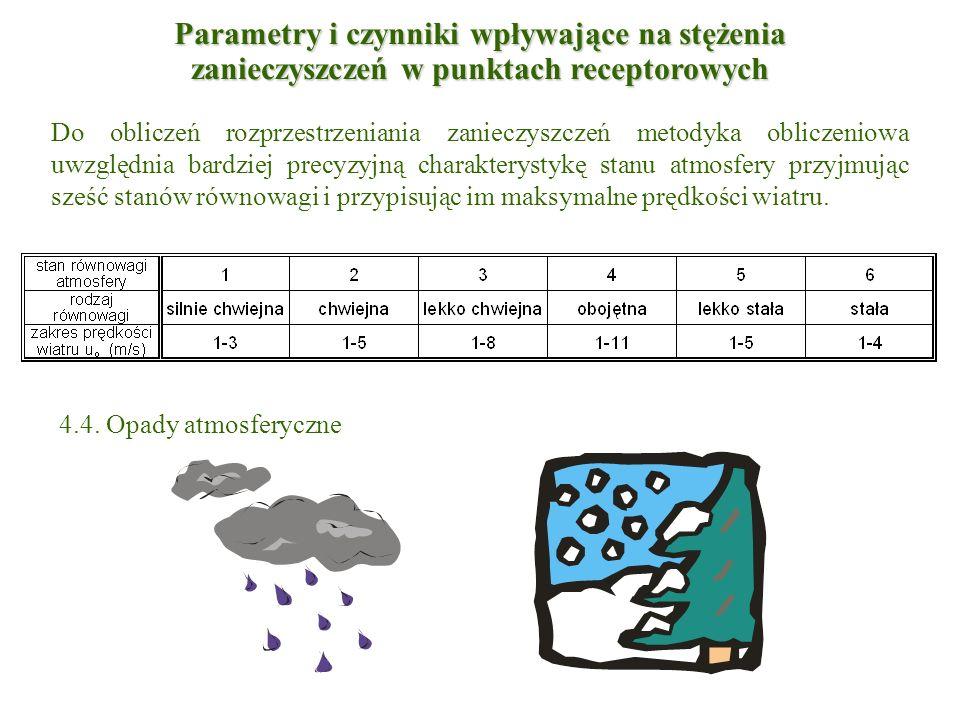 Do obliczeń rozprzestrzeniania zanieczyszczeń metodyka obliczeniowa uwzględnia bardziej precyzyjną charakterystykę stanu atmosfery przyjmując sześć st