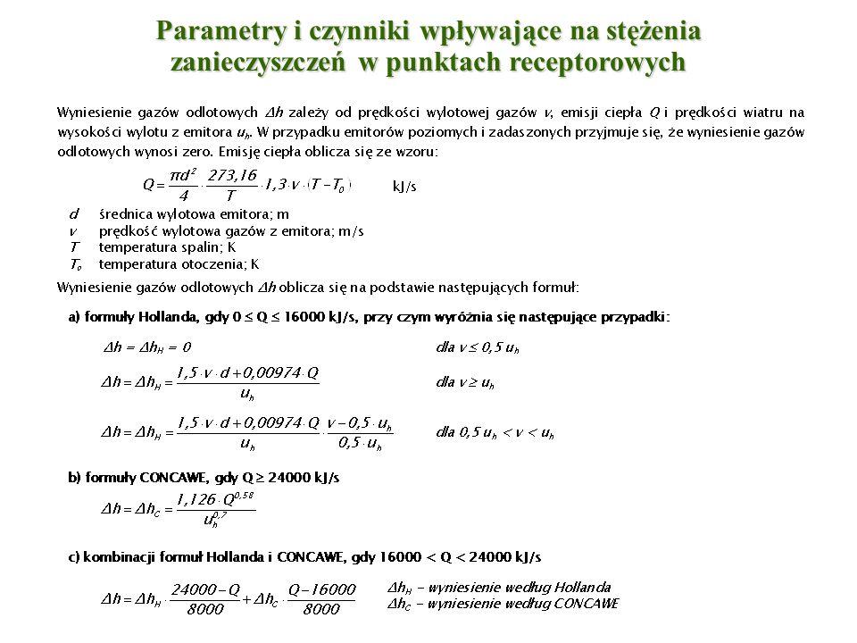 Metodyka obliczeniowa - skrócony zakres obliczeń a)dla pojedynczego emitora lub zespołu emitorów, z których został utworzony emitor zastępczy: b) dla zespołu emitorów: c) kryterium opadu pyłu: I.mg/s II.Mg/rok Jeżeli z obliczeń wstępnych wynika, że spełnione są następujące warunki: III.