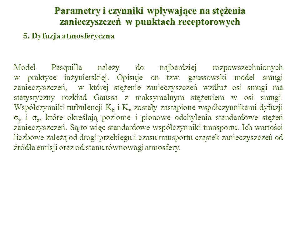 5. Dyfuzja atmosferyczna Model Pasquilla należy do najbardziej rozpowszechnionych w praktyce inżynierskiej. Opisuje on tzw. gaussowski model smugi zan
