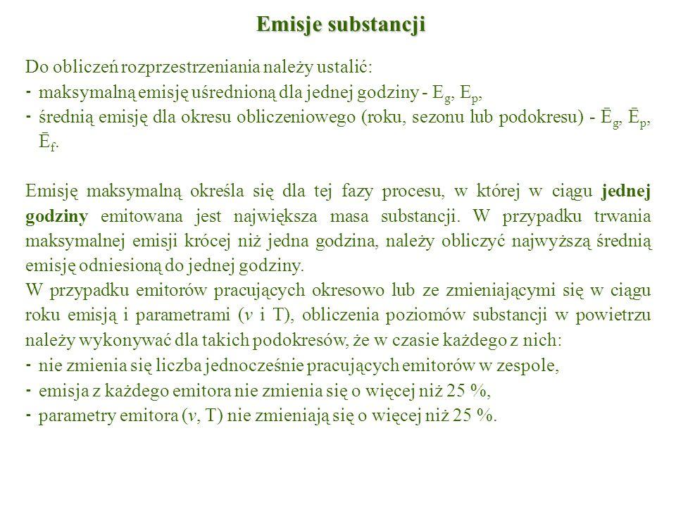 Emisje substancji Do obliczeń rozprzestrzeniania należy ustalić: ⁃ maksymalną emisję uśrednioną dla jednej godziny - E g, E p, ⁃ średnią emisję dla ok