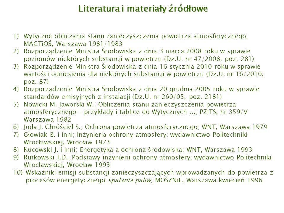 Literatura i materiały źródłowe 1)Wytyczne obliczania stanu zanieczyszczenia powietrza atmosferycznego; MAGTiOŚ, Warszawa 1981/1983 2)Rozporządzenie M