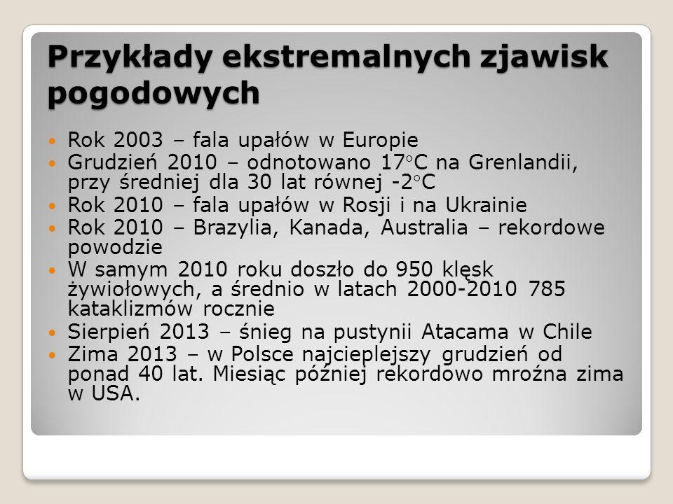 Przykłady ekstremalnych zjawisk pogodowych Rok 2003 – fala upałów w Europie Grudzień 2010 – odnotowano 17C na Grenlandii, przy średniej dla 30 lat równej -2C Rok 2010 – fala upałów w Rosji i na Ukrainie Rok 2010 – Brazylia, Kanada, Australia – rekordowe powodzie W samym 2010 roku doszło do 950 klęsk żywiołowych, a średnio w latach 2000-2010 785 kataklizmów rocznie Sierpień 2013 – śnieg na pustynii Atacama w Chile Zima 2013 – w Polsce najcieplejszy grudzień od ponad 40 lat.