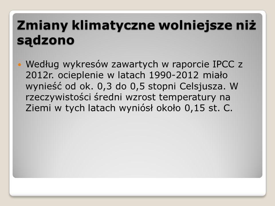 Zmiany klimatyczne wolniejsze niż sądzono Według wykresów zawartych w raporcie IPCC z 2012r. ocieplenie w latach 1990-2012 miało wynieść od ok. 0,3 do
