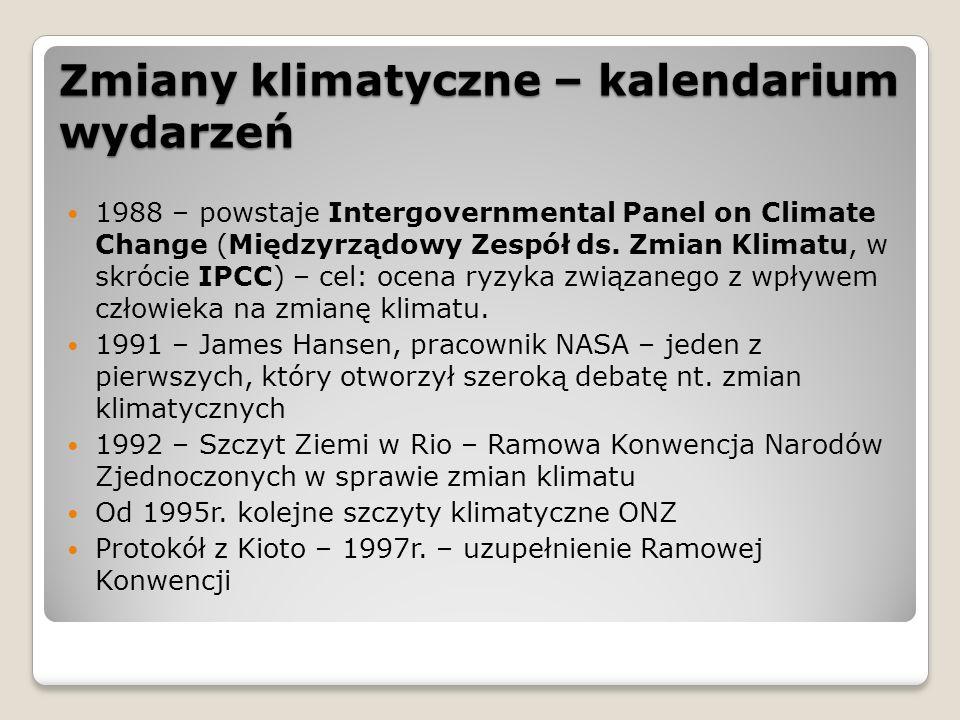 Zmiany klimatyczne – kalendarium wydarzeń 1988 – powstaje Intergovernmental Panel on Climate Change (Międzyrządowy Zespół ds. Zmian Klimatu, w skrócie