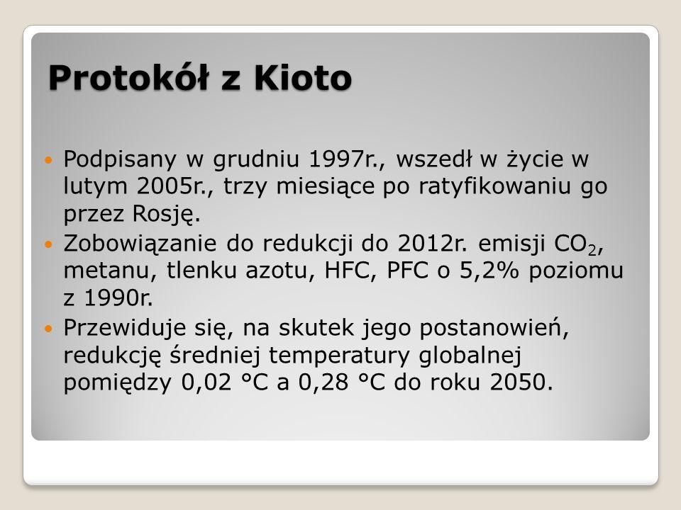 Protokół z Kioto Podpisany w grudniu 1997r., wszedł w życie w lutym 2005r., trzy miesiące po ratyfikowaniu go przez Rosję. Zobowiązanie do redukcji do