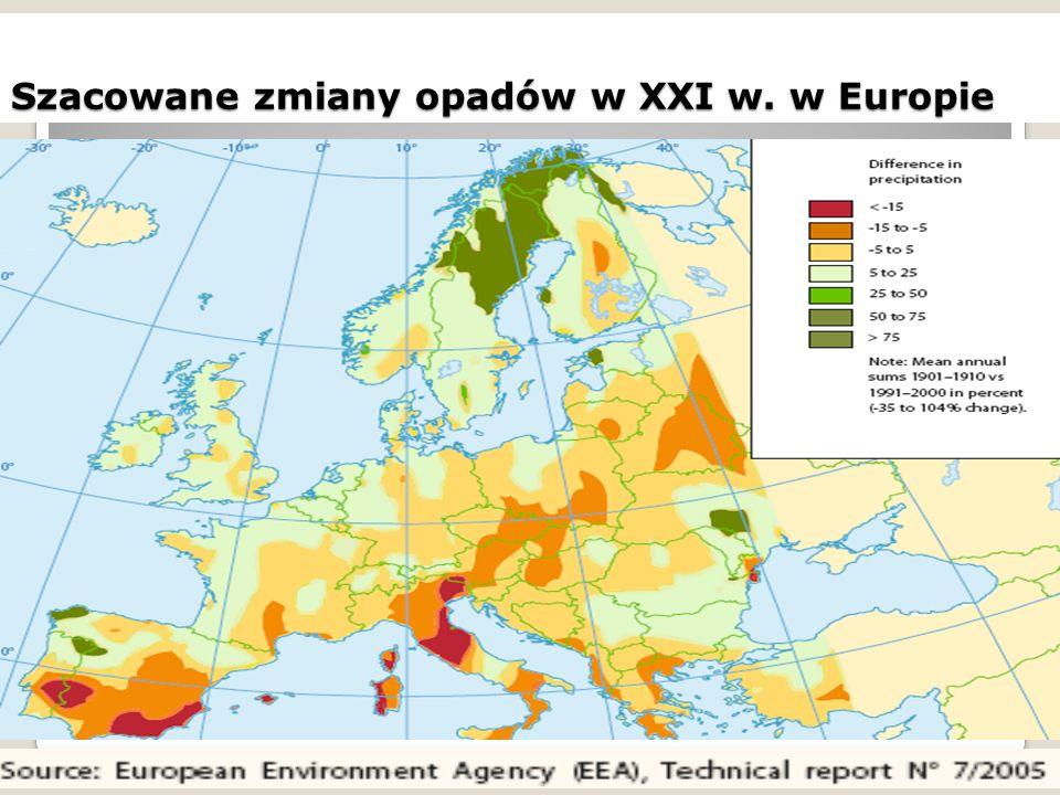 Szacowane zmiany opadów w XXI w. w Europie