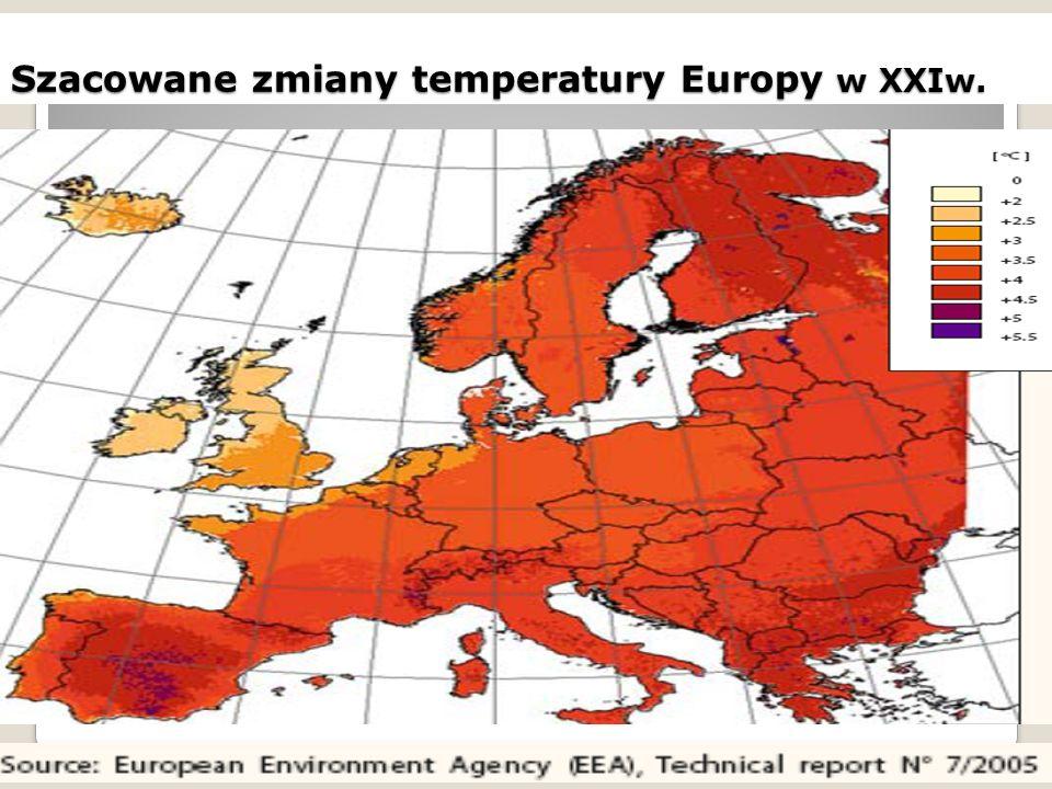 Szacowane zmiany temperatury Europy w XXIw.