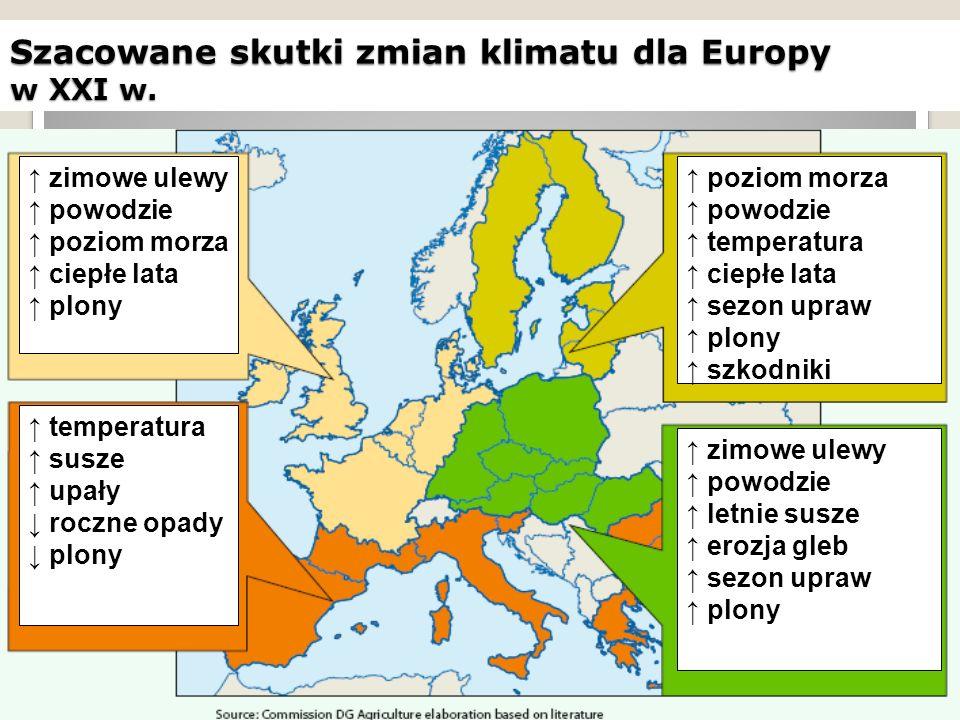 Szacowane skutki zmian klimatu dla Europy w XXI w. ↑ poziom morza ↑ powodzie ↑ temperatura ↑ ciepłe lata ↑ sezon upraw ↑ plony ↑ szkodniki ↑ zimowe ul