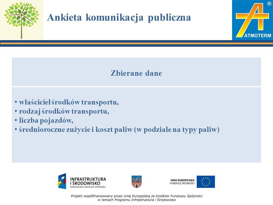 Ankieta komunikacja publiczna Zbierane dane właściciel środków transportu, rodzaj środków transportu, liczba pojazdów, średnioroczne zużycie i koszt paliw (w podziale na typy paliw)