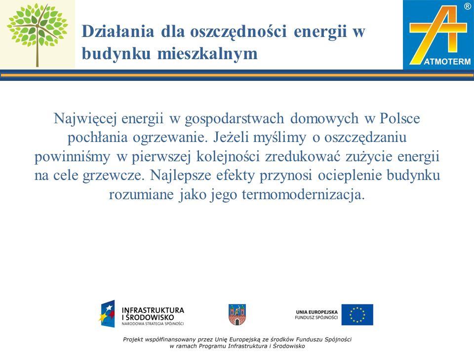 Działania dla oszczędności energii w budynku mieszkalnym Najwięcej energii w gospodarstwach domowych w Polsce pochłania ogrzewanie.