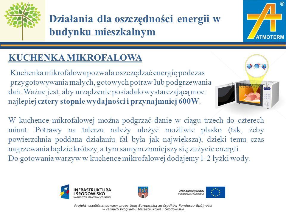 Działania dla oszczędności energii w budynku mieszkalnym KUCHENKA MIKROFALOWA Kuchenka mikrofalowa pozwala oszczędzać energię podczas przygotowywania małych, gotowych potraw lub podgrzewania dań.