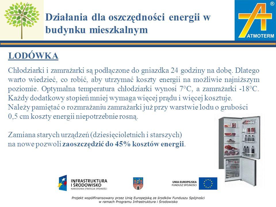 Działania dla oszczędności energii w budynku mieszkalnym LODÓWKA Chłodziarki i zamrażarki są podłączone do gniazdka 24 godziny na dobę.