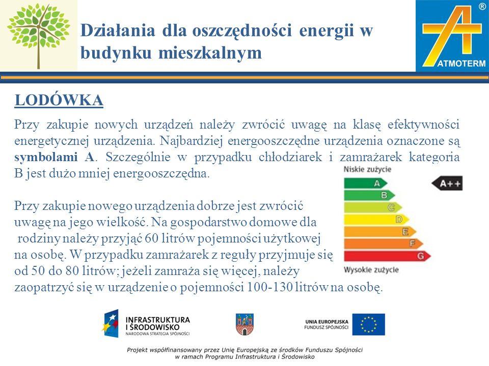Działania dla oszczędności energii w budynku mieszkalnym LODÓWKA Przy zakupie nowych urządzeń należy zwrócić uwagę na klasę efektywności energetycznej urządzenia.