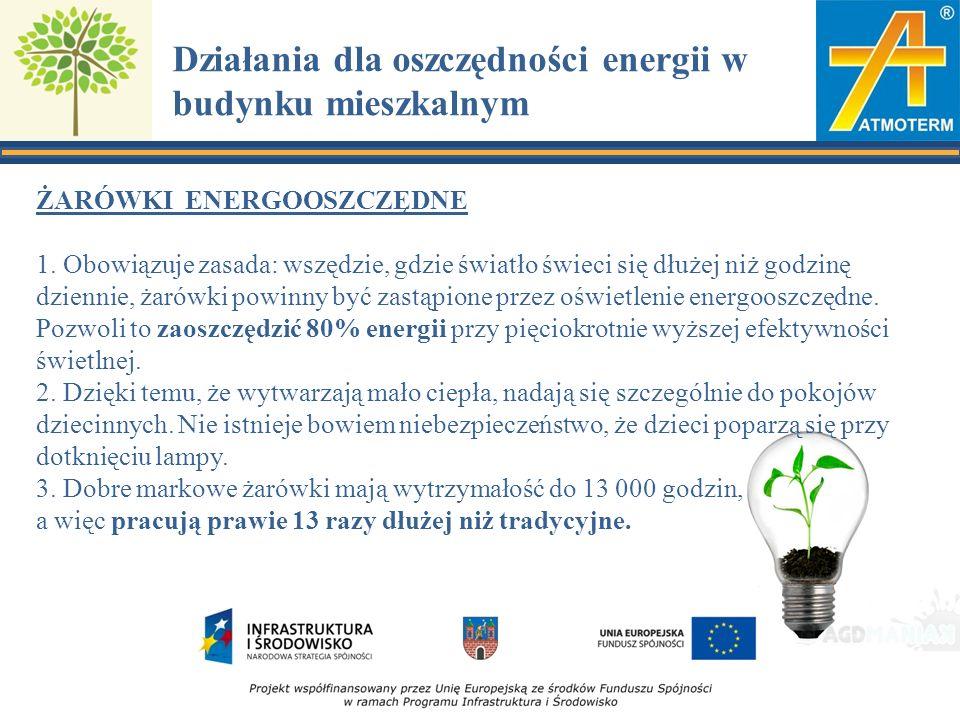 Działania dla oszczędności energii w budynku mieszkalnym ŻARÓWKI ENERGOOSZCZĘDNE 1.