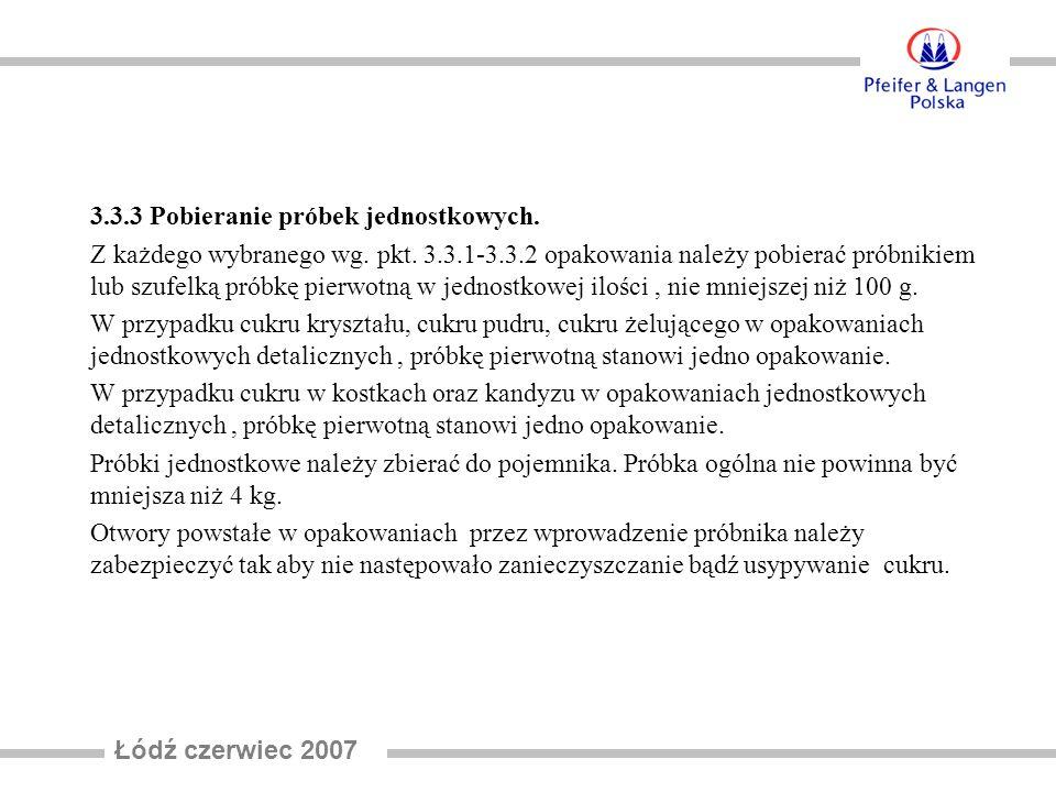 Łódź czerwiec 2007 3.3.3 Pobieranie próbek jednostkowych.