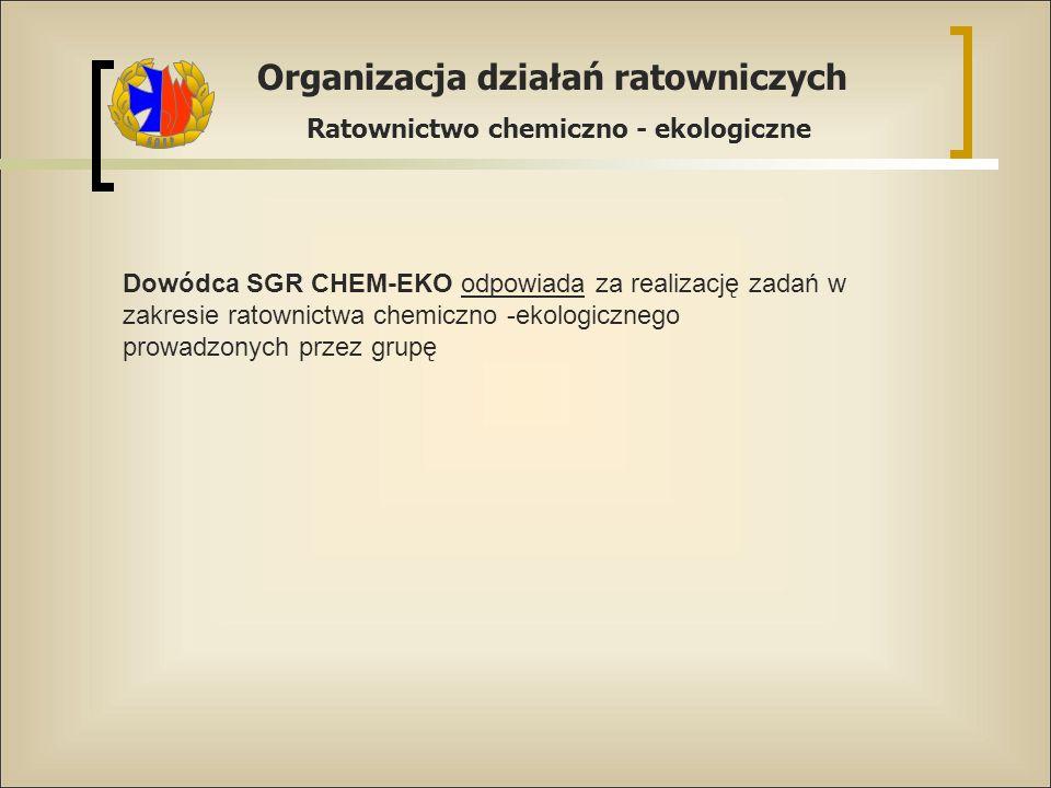 Organizacja działań ratowniczych Ratownictwo chemiczno - ekologiczne Dowódca SGR CHEM-EKO odpowiada za realizację zadań w zakresie ratownictwa chemicz
