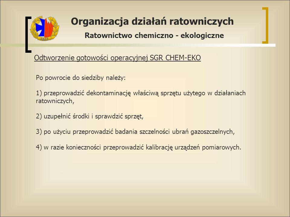 Organizacja działań ratowniczych Ratownictwo chemiczno - ekologiczne Odtworzenie gotowości operacyjnej SGR CHEM-EKO Po powrocie do siedziby należy: 1)
