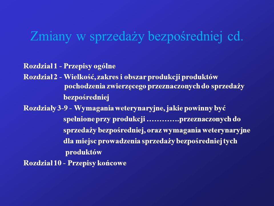 Zmiany w sprzedaży bezpośredniej cd. Rozdział 1 - Przepisy ogólne Rozdział 2 - Wielkość, zakres i obszar produkcji produktów pochodzenia zwierzęcego p