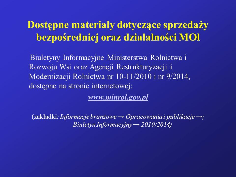 Dostępne materiały dotyczące sprzedaży bezpośredniej oraz działalności MOl Biuletyny Informacyjne Ministerstwa Rolnictwa i Rozwoju Wsi oraz Agencji Re