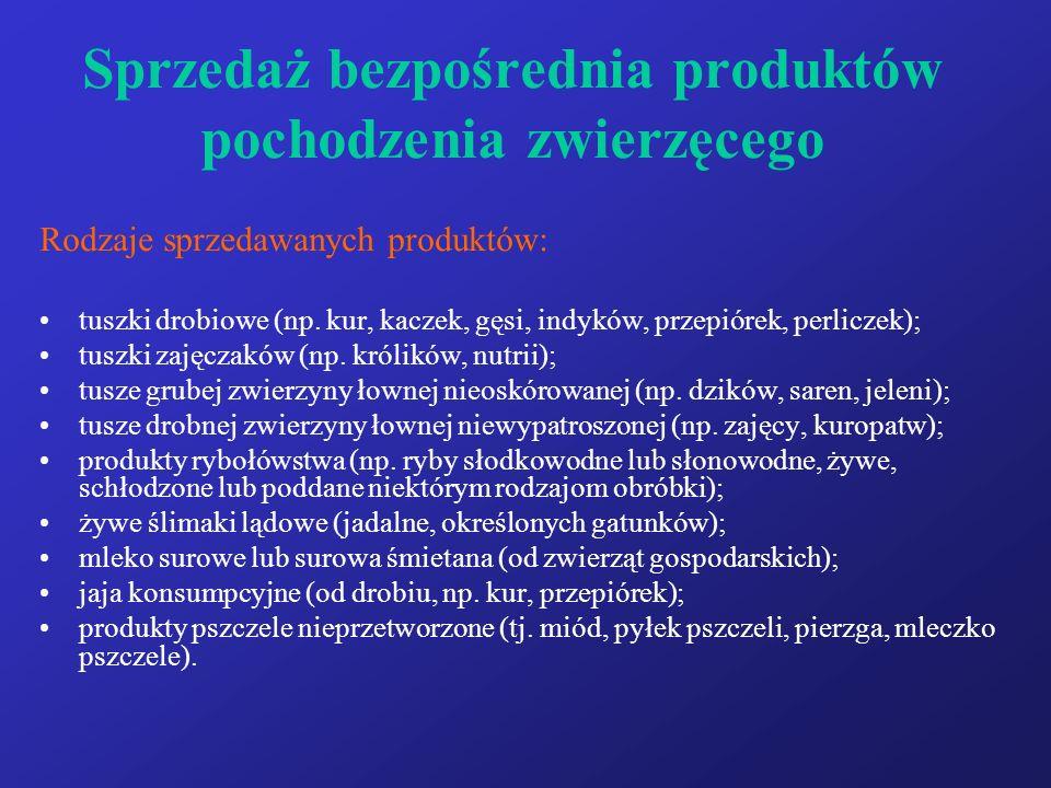Sprzedaż bezpośrednia produktów pochodzenia zwierzęcego Rodzaje sprzedawanych produktów: tuszki drobiowe (np.