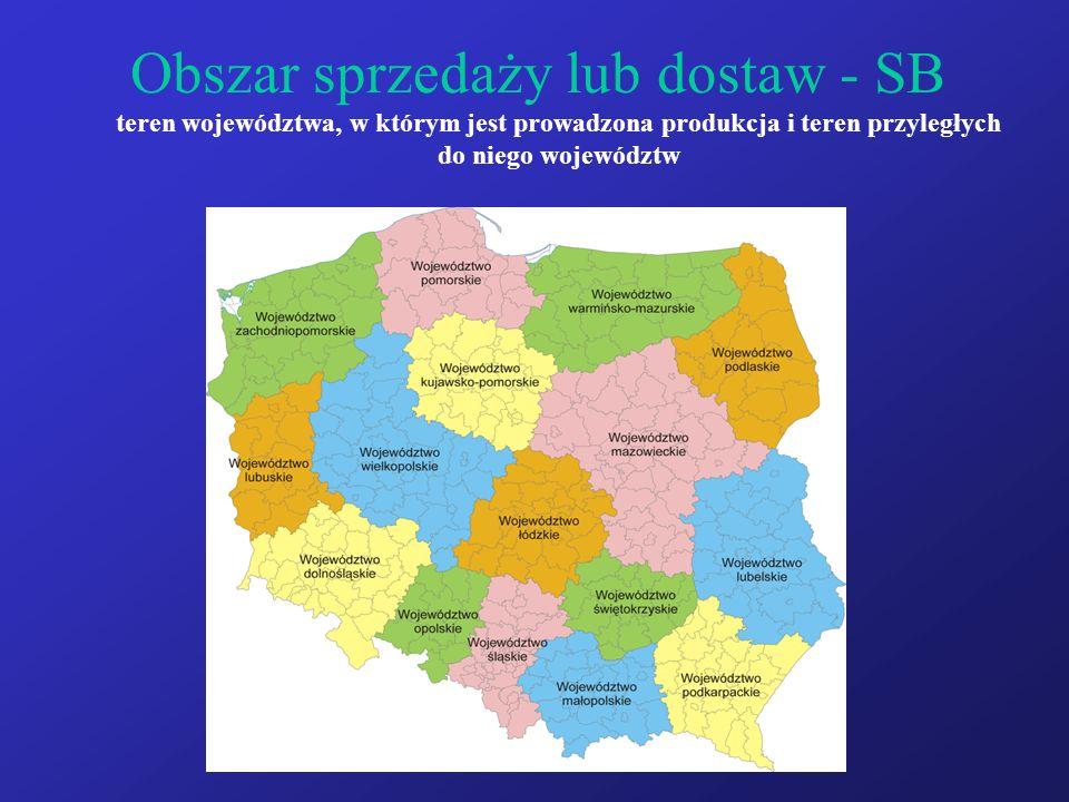 Obszar sprzedaży lub dostaw - SB teren województwa, w którym jest prowadzona produkcja i teren przyległych do niego województw