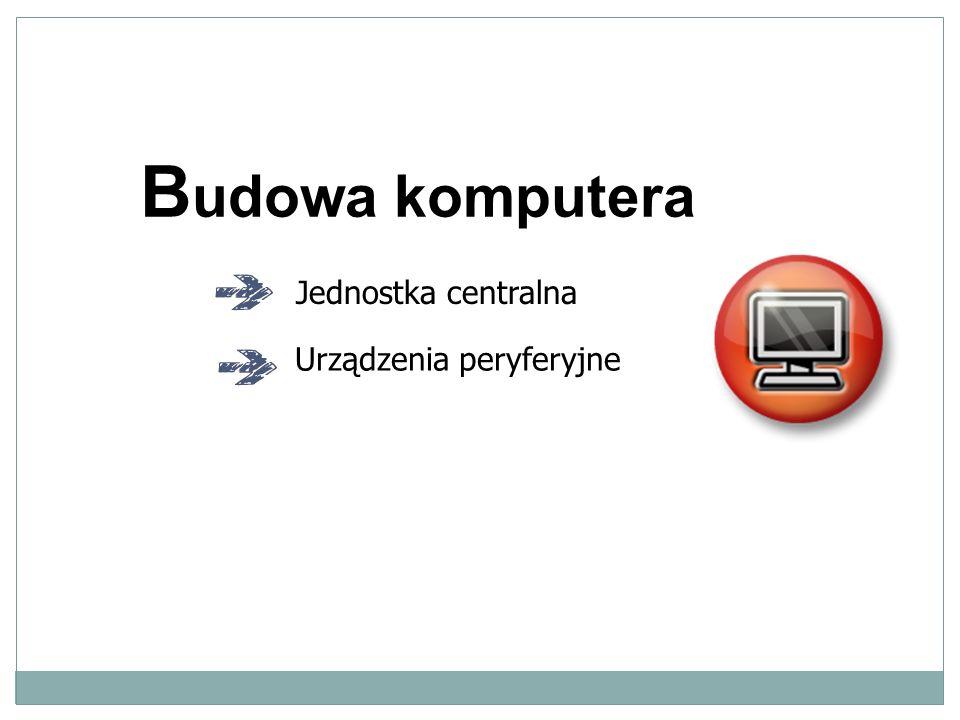 B udowa komputera Jednostka centralna Urządzenia peryferyjne