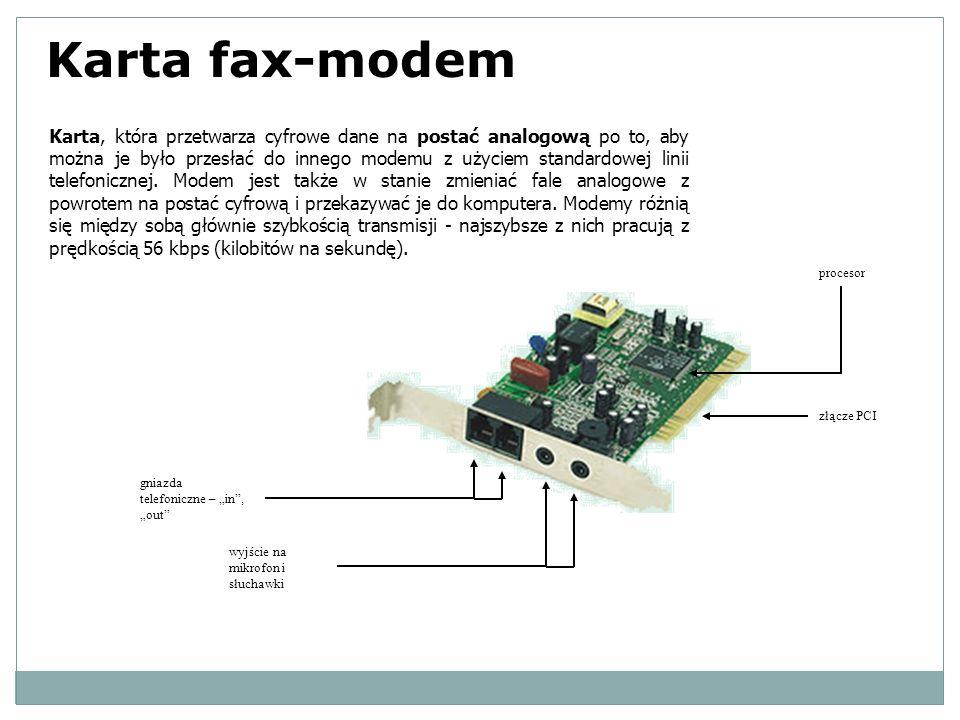Karta, która przetwarza cyfrowe dane na postać analogową po to, aby można je było przesłać do innego modemu z użyciem standardowej linii telefonicznej