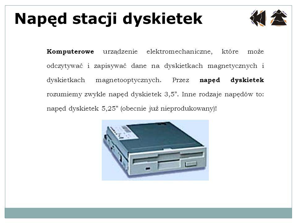 Napęd stacji dyskietek Komputerowe urządzenie elektromechaniczne, które może odczytywać i zapisywać dane na dyskietkach magnetycznych i dyskietkach ma