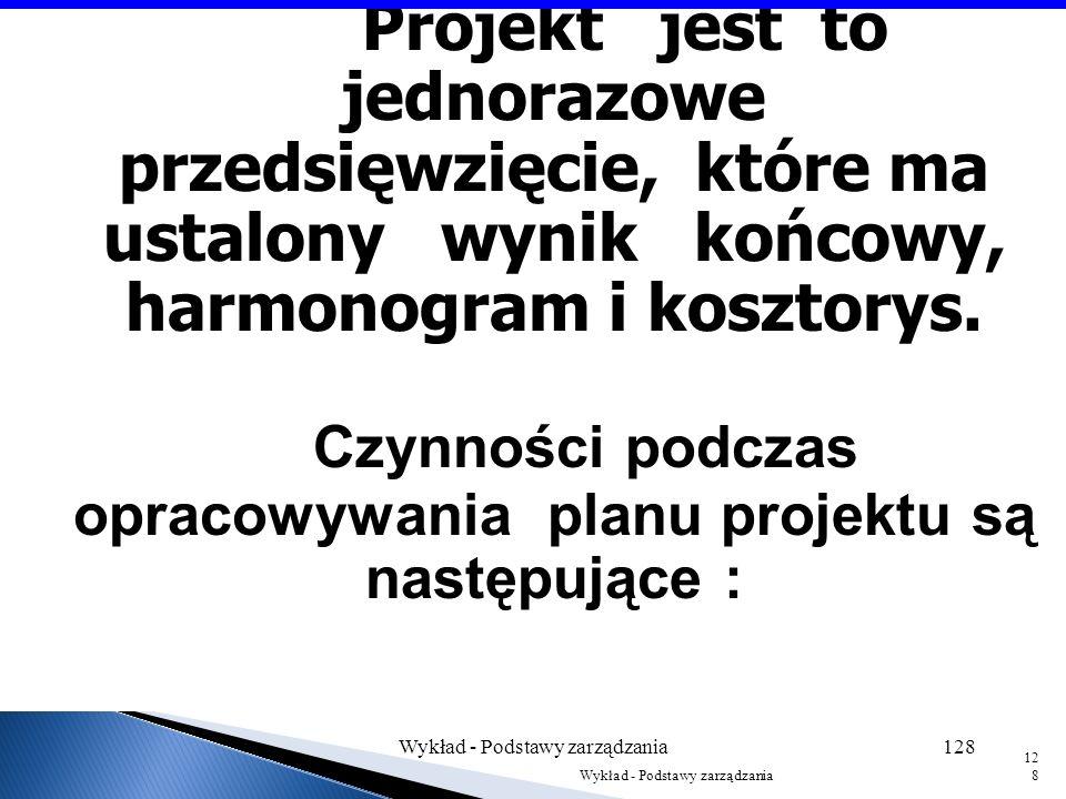 Plan projektu Wykład - Podstawy zarządzania127 127