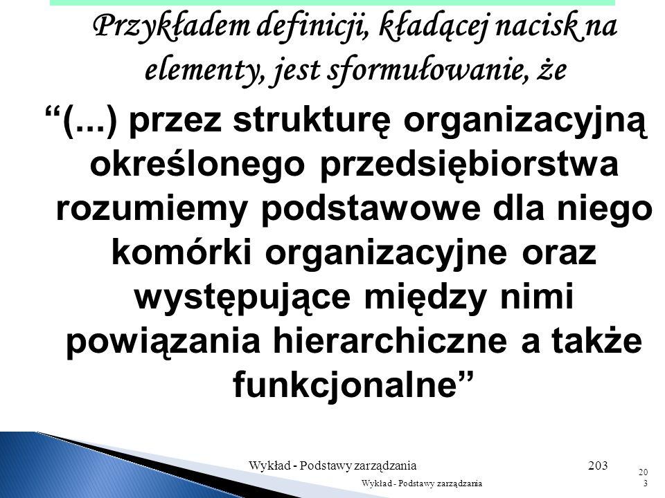 Struktura organizacyjna to sposób, w jaki elementy organizacji są ze sobą powiązane. Wg J. Zieleniewskiego: struktura to całokształt stosunków między
