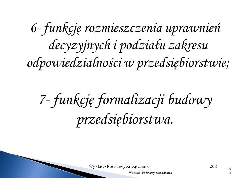 3- funkcję grupowania stanowisk w jednostki organizacyjne; 4- funkcję kształtowania zależności funkcjonalnych; 5- funkcję kształtowania zależności hie