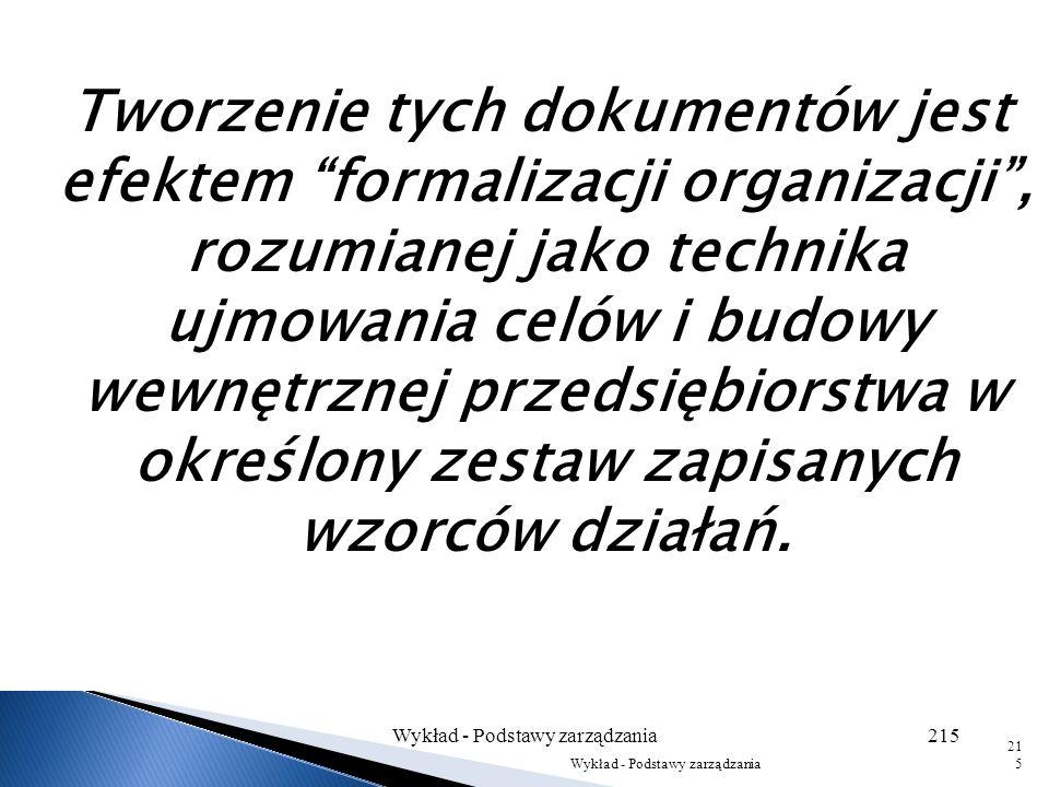 Dokumenty opisujące strukturę organizacyjną firmy Struktura organizacyjna, jako wyraz świadomego ukształtowania budowy wewnętrznej przedsiębiorstwa, j
