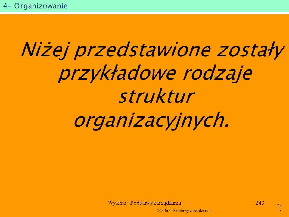 Wykład - Podstawy zarządzania242 242 Wyrób B Zaopatrzenie Badanie i rozwój Finanse Kadry Zbyt Technika Centralne jednostki funkcjonalne Jednostki spec