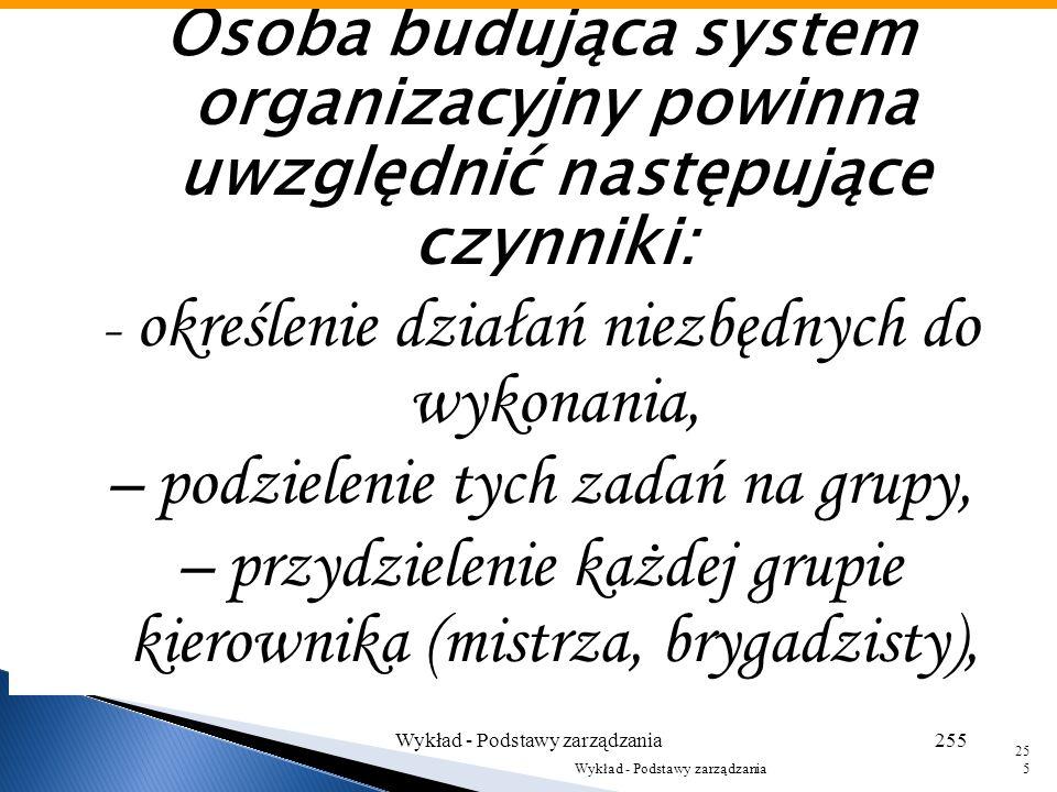 Organizacyjna funkcja kierownika wyższego szczebla polega na: 1– określeniu i wyszczególnieniu czynności niezbędnych do osiągnięcia celów, 2– zgrupowa