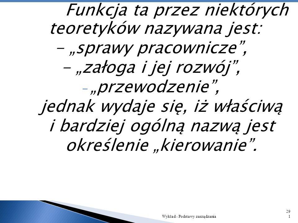 Wykład - Podstawy zarządzania290