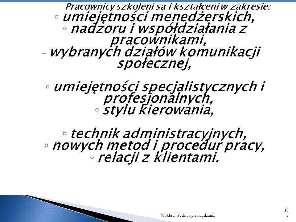Szkolenia Wykład - Podstawy zarządzania369