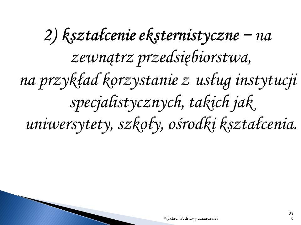 Istnieją dwie główne formy kształcenia i rozwoju przez przedsiębiorstwo: 1) kształcenie internistyczne wewnątrzzakładowe: – przyuczenie do wykonywania