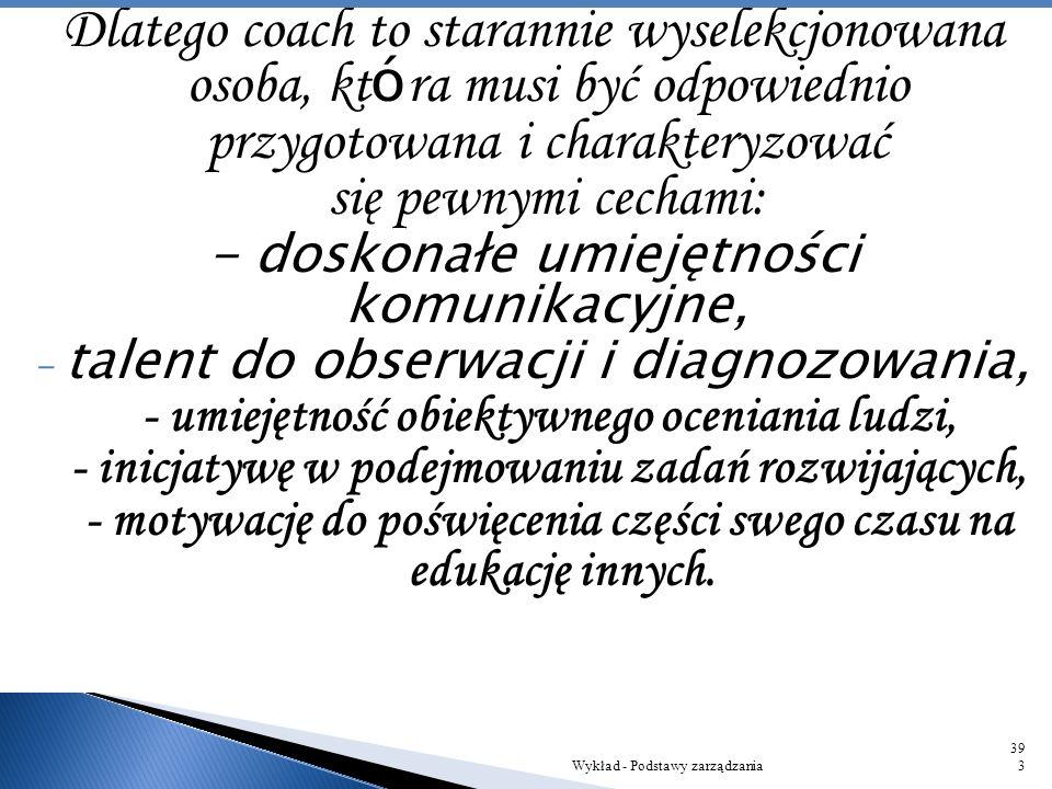 Coaching to aktywna forma szkolenia, jest on odmianą metody treningowej, skupiającej się na indywidualnym rozwoju jednostki. Ważną rolę w takim proces