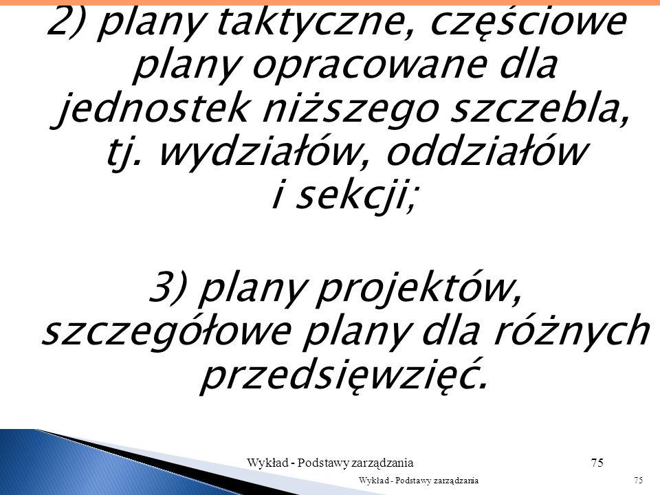 Wyróżnia się trzy rodzaje planów: 1) plany strategiczne, w których naczelny zarząd organizacji wyznacza cele, zadania i sposób ich wykonania, opierają