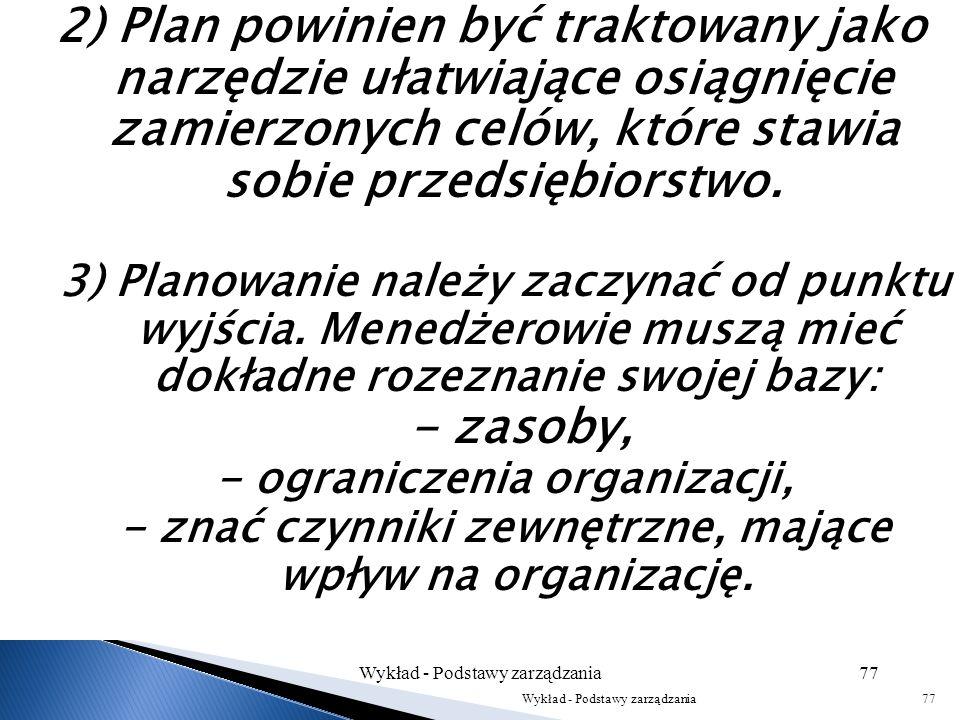Sformułowano następujące zasady, którym powinno odpowiadać skuteczne planowanie: 1) Istotne jest, aby osoby odpowiadające za wykonanie zamierzonych dz