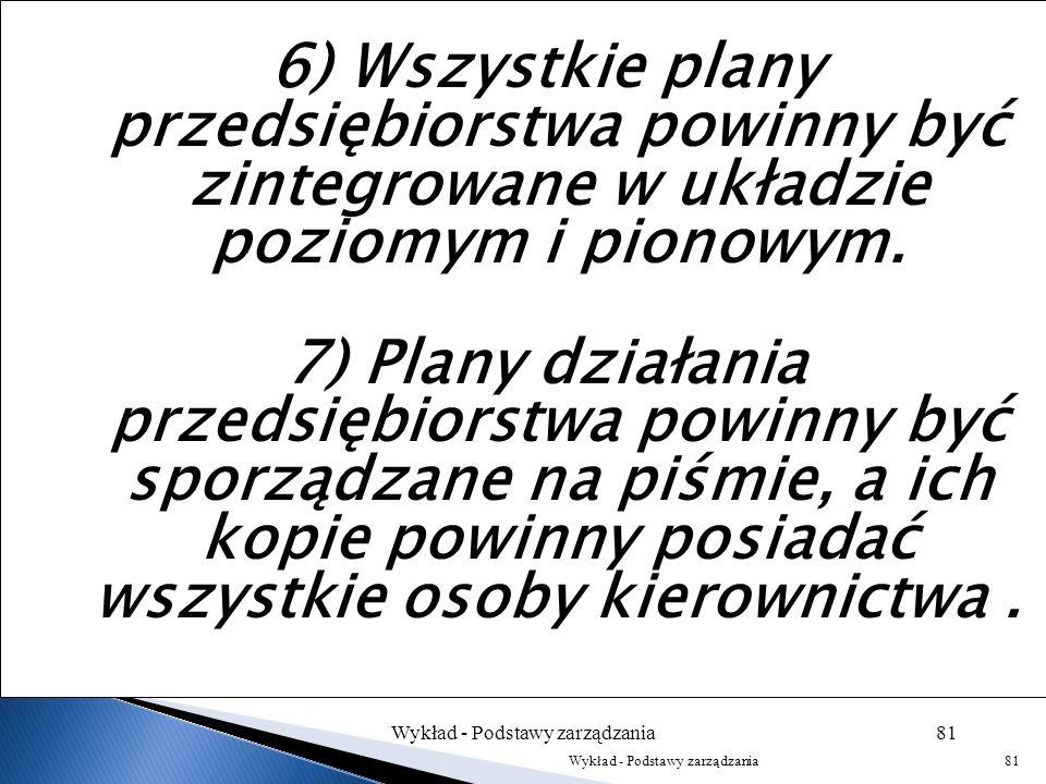 5) Plan powinien zawierać różne warianty, aby zmieniająca się sytuacja nie postawiła przedsiębiorstwa w sytuacji bez wyjścia. Musi przewidywać możliwo