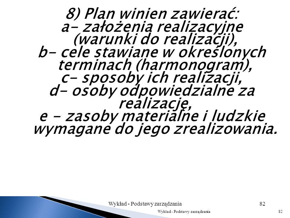 6) Wszystkie plany przedsiębiorstwa powinny być zintegrowane w układzie poziomym i pionowym. 7) Plany działania przedsiębiorstwa powinny być sporządza