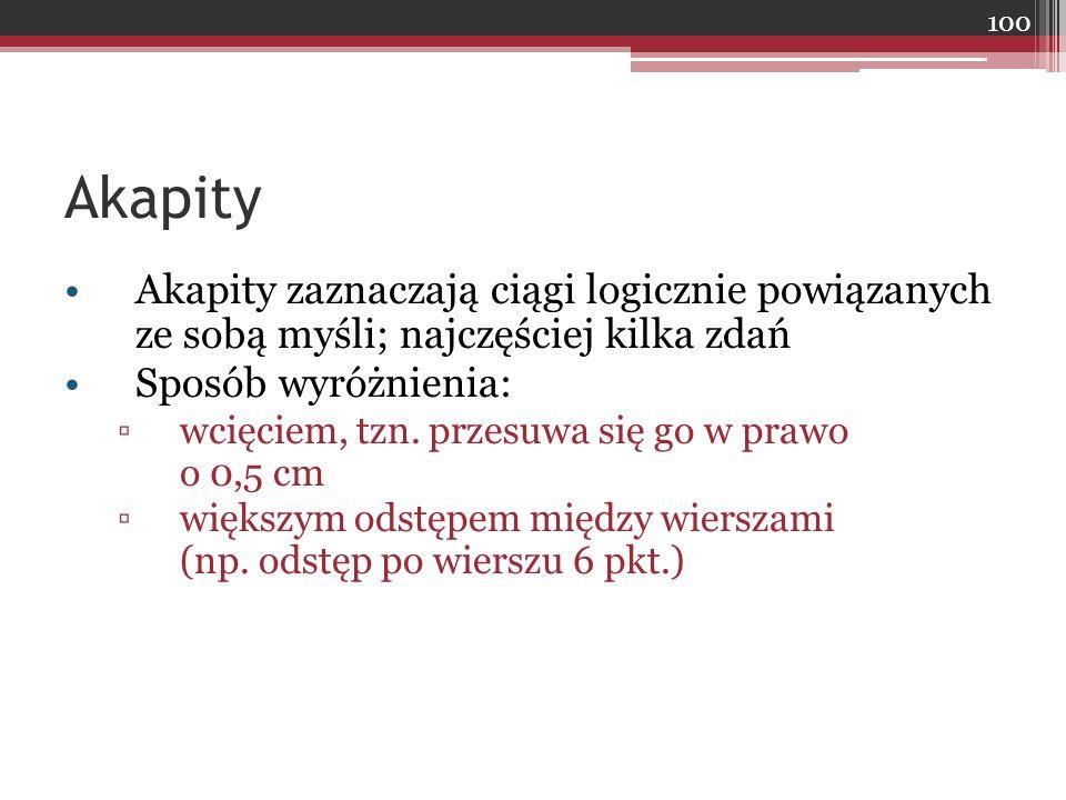 Akapity Akapity zaznaczają ciągi logicznie powiązanych ze sobą myśli; najczęściej kilka zdań Sposób wyróżnienia: ▫wcięciem, tzn. przesuwa się go w pra