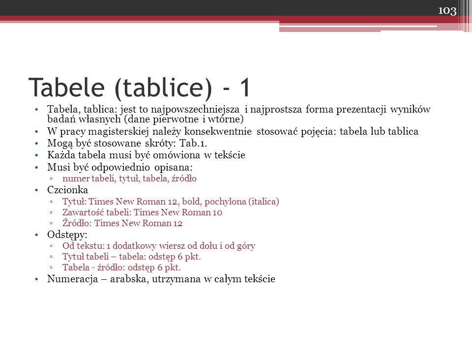 Tabele (tablice) - 1 Tabela, tablica: jest to najpowszechniejsza i najprostsza forma prezentacji wyników badań własnych (dane pierwotne i wtórne) W pracy magisterskiej należy konsekwentnie stosować pojęcia: tabela lub tablica Mogą być stosowane skróty: Tab.1.