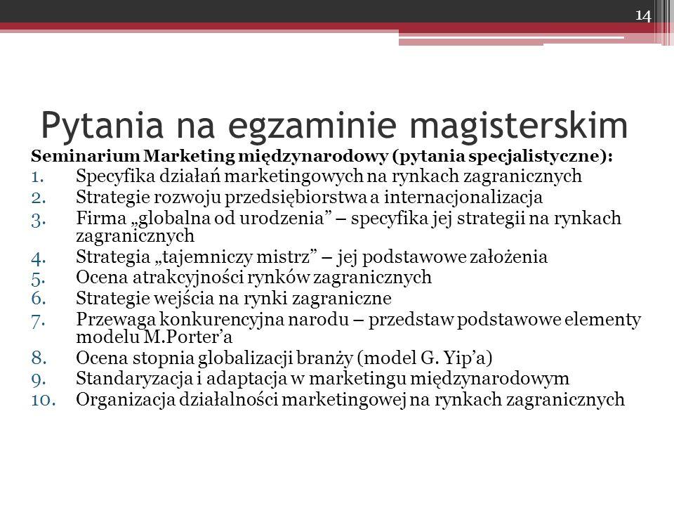 Pytania na egzaminie magisterskim Seminarium Marketing międzynarodowy (pytania specjalistyczne): 1.Specyfika działań marketingowych na rynkach zagrani