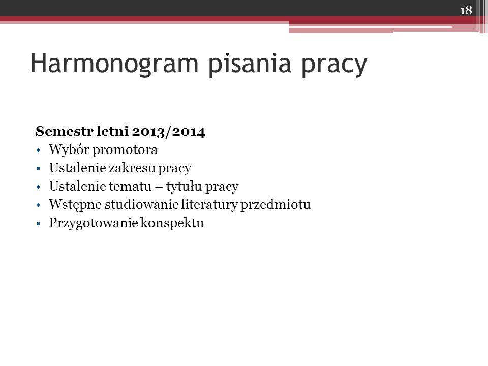 Harmonogram pisania pracy Semestr letni 2013/2014 Wybór promotora Ustalenie zakresu pracy Ustalenie tematu – tytułu pracy Wstępne studiowanie literatu