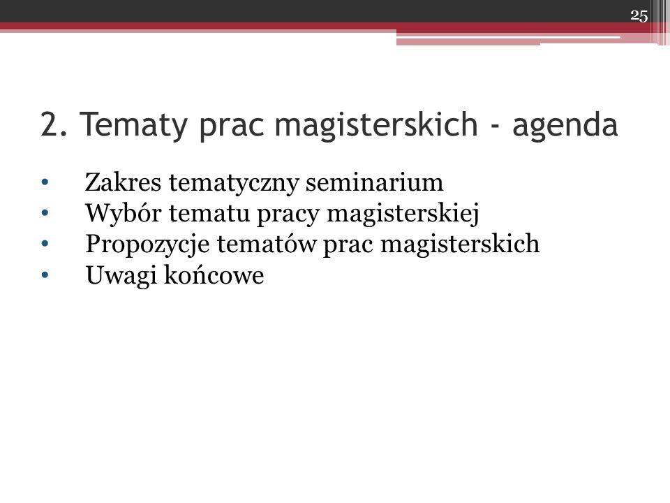 2. Tematy prac magisterskich - agenda Zakres tematyczny seminarium Wybór tematu pracy magisterskiej Propozycje tematów prac magisterskich Uwagi końcow