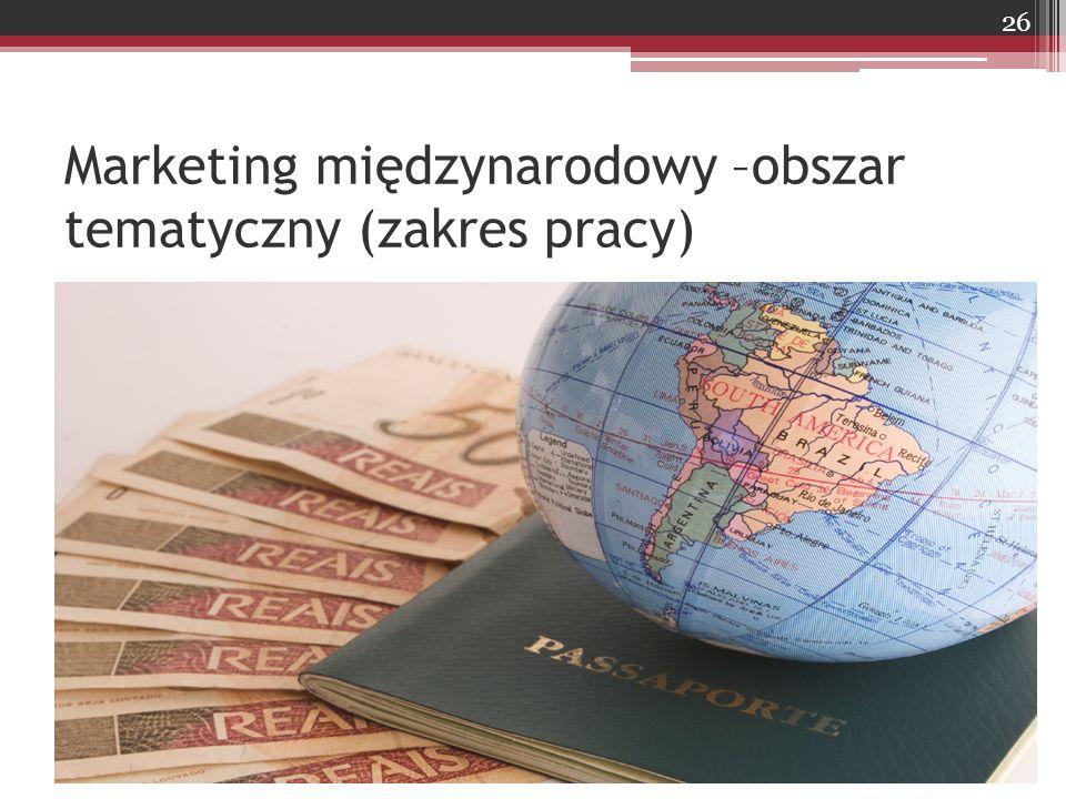 Marketing międzynarodowy –obszar tematyczny (zakres pracy) 26