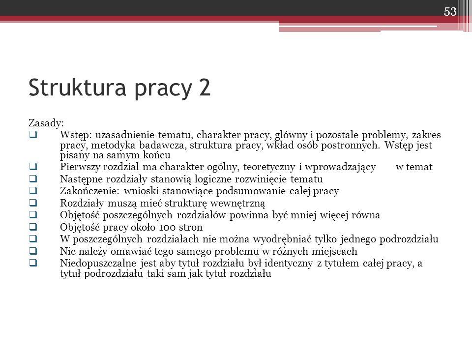 Zasady:  Wstęp: uzasadnienie tematu, charakter pracy, główny i pozostałe problemy, zakres pracy, metodyka badawcza, struktura pracy, wkład osób postr