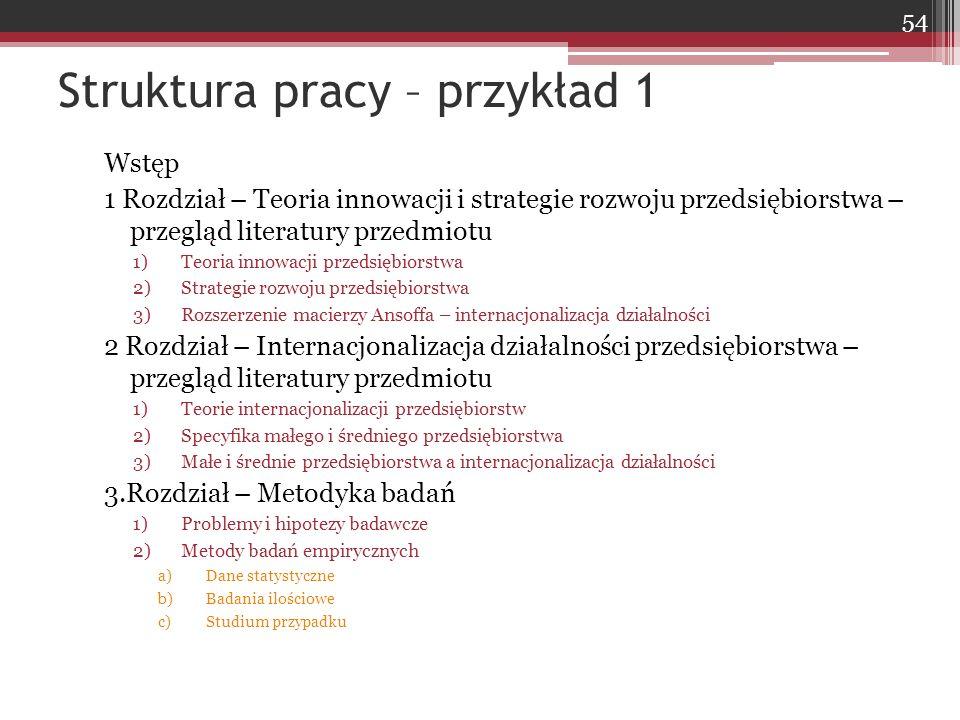Wstęp 1 Rozdział – Teoria innowacji i strategie rozwoju przedsiębiorstwa – przegląd literatury przedmiotu 1)Teoria innowacji przedsiębiorstwa 2)Strate
